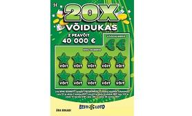 Экспресс-лотерея 20X VÕIDUKAS – выиграйте до 40 000